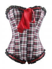 Fashion Plaid Cotton Women Overbust Corset Wholesale