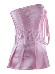 Elegant Pink Elegant Satin Overbust Ladies Corset