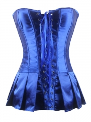 Noble Blue Elegant Satin Overbust Ladies Corset