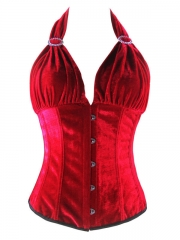 Red Wine Ladies Glamour Halter Corset Tops
