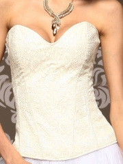Beautiful Beige Lace Elegant Bridal Zipper Corset