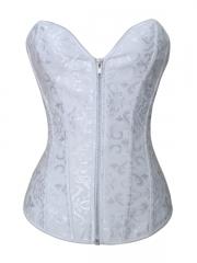 White Zipper Bridal Overbust Corset Wholesale