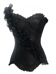Elegant Rose Flower Black Women Corset Tops