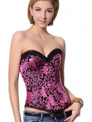 Hot Pink Steel Boned Top Women Overbust Corset
