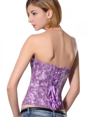 Purple Denim Fashion Tie-dyed Floral Corset