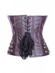 Gothic Steel Boned Overbust Leather Corset Tops