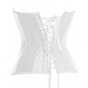 Graceful Pure White Satin Overbust Corset