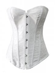 Beautiful Plus Sizes White Jacquard Bridal Overbust Corset