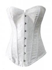 Beautiful Plus Sizes White Jacquard Bridal Overbust Corset