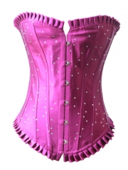 Hot Sale Blue Rhinestone Satin Overbust Corset Bustier