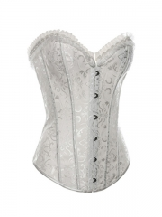 White Steel Boned Women Overbust Corset