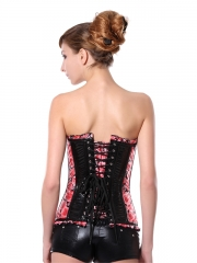 Women Romantic Pink Rose Pattern Steel Boned Corset Tops