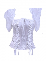 White Comfortable Elastic satin Corset