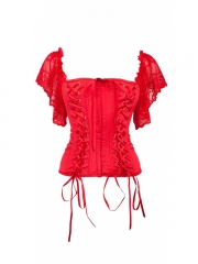 Red Comfortable Elastic satin Corset