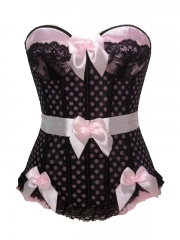 Dots Pink Mesh Overbust Corset Bustier Wholesale
