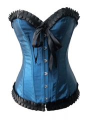 Blue Grace Gothic Bow Overbust Corset Tops
