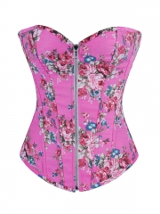 Pink Rose Flora Denim Zipper Outwear Women Corset