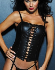 Black Front Lace Up Leather Overbust Corset Tops Wholesale