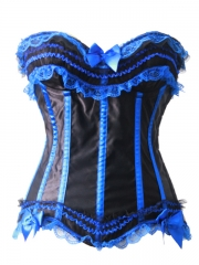 Satin Blue in Black Overbust Women Corset