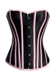 Pink Stripe Black Satin Women Corset Wholesale