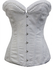 Women White Jacquard Bustier Bridal Overbust Corset Tops