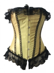 Adorable Gold Lace Overbust Corset Tops with Overlay Lace
