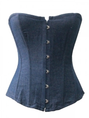 Women Attractive Blue ​Overbust Denim Corset Bustier Tops