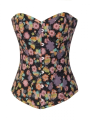 Beautiful Butterfly Floral Denim Corset Tops