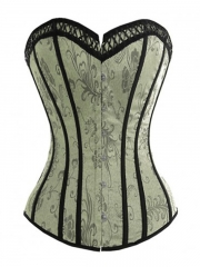 Victorian Floral Overbust Corset with Lace Overlay for Women