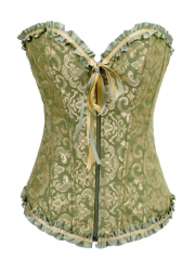 Exquisite Lace Trims Jacquard Bustier Tops With Zipper