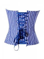 Plus Size Stripe Denim Corset Tops Blue Bustier Wholesale