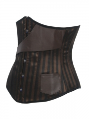 Women Bronze Steampunk Bustier Steel Boned Corset With Belts