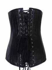Black Steel Boned Leather Long Underbust Women Corset