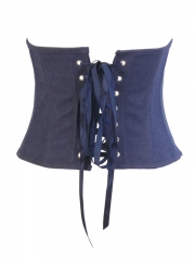 Blue Denim Underbust Bustier Corset With Decorated Waistband