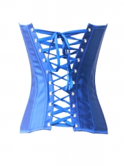 Graceful Blue Bustier Tops Satin Overbust Corset For Women