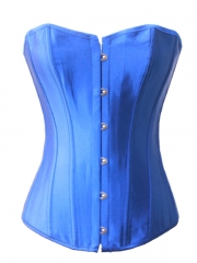 Good Looking Blue Ladies Overbust Satin Corset Bustier Tops