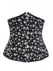 Chic Black Underbust Skull Printed Waist Training Corset