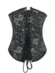 Green Jacquard Steel Boned Corset Training Body Shaper
