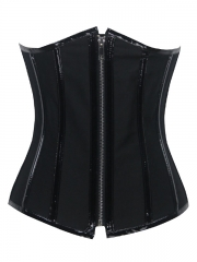 Black Steel Boned Underbust Bustier Corset With Zipper