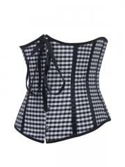 Women Black Lattice Bustier Waist Training Underbust Corset