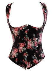 Vintage Floral Printed Denim Body Waist Shaper Women Bustier