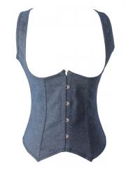 Fashion Denim Underbust Corset Women Blue Body Shaper