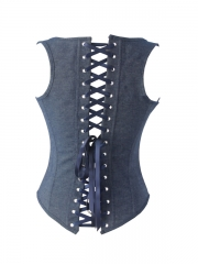 Fashion Denim Underbust Corset Women Blue Body Shaper