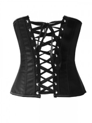 Black Stain Corset Bustier Top With Rhinestones