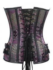 Fashion Purple Satin Steel Boned Overbust Corset Tops
