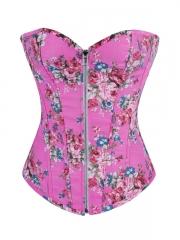 Women Pink Denim Bustier Rose Printed Corset Tops Wholesale