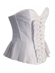 Elegant White Ruffle Bridal Overbust Corset Tops With Bows