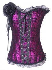 Funny European Purple Flower Elegant Lace Corset Bustier