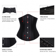 Fashion Satin 24 Steel Boned Waist Training Underbust Corset