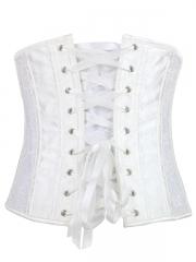 White Wedding Steel Boned Corset Front zipper Lace Underbust